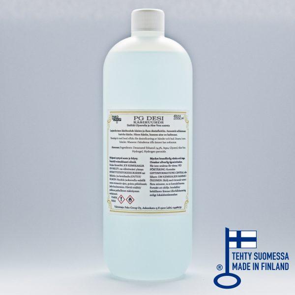 PG DESI käsidesi 1000ml muovipullo, kierrekorkki, 74,5% etanoli, ei mikromuovia, Pako Group, avainlippu-merkki