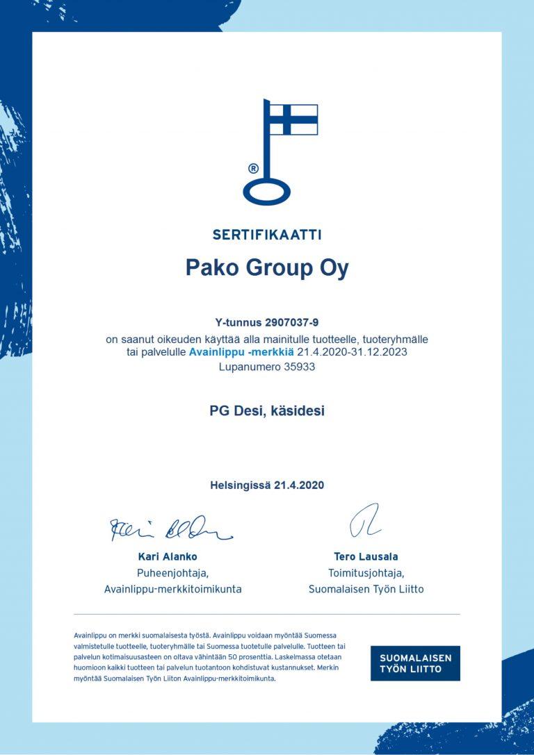 PG DESI avainlippu sertifikaatti Pako Group Oy