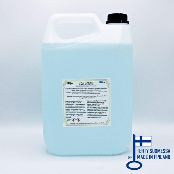 PG DESI käsidesi 5l kanisteri, kierrekorkki, 74,5% etanoli, ei mikromuovia, Pako Group, avainlippu-merkki