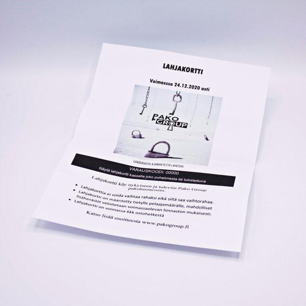 pako group -pakohuone lahjakortti pdf muodossa, verkkokauppa lahti